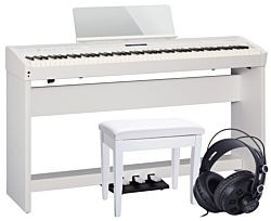 Roland FP-60 i Vit m Komplett Uppsättning m Stativ, Bänk och Hörlurar