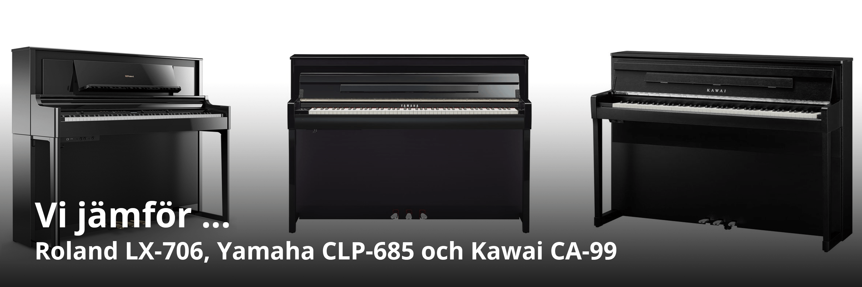 Jämförelse av Kawai CA 99, Yamaha CLP 685 och Roland LX 706